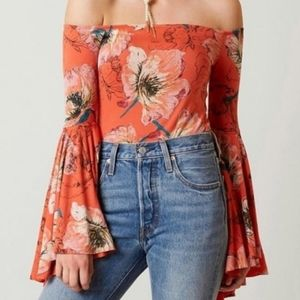 Anthropologie NEW Free People Top Red Flor…